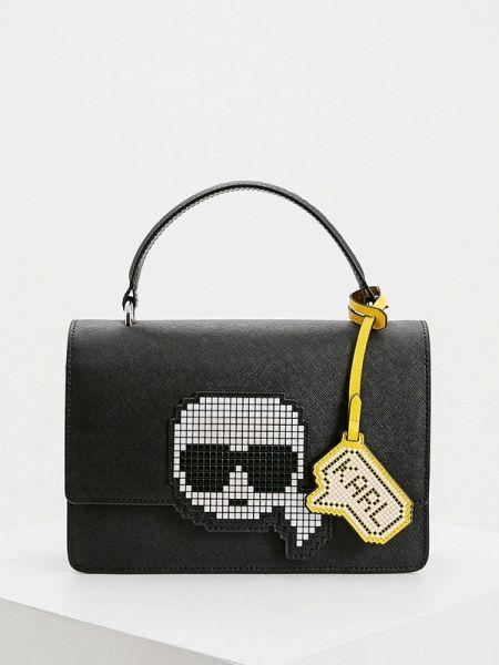 Кожаная сумка с ручками черная Karl Lagerfeld