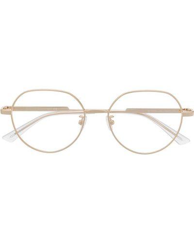 Желтые очки круглые металлические прозрачные Bottega Veneta Eyewear