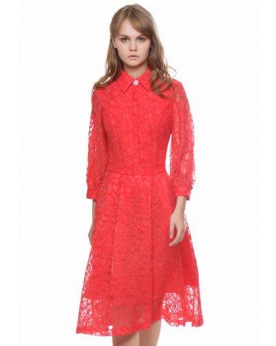 Платье миди розовое осеннее Marichuell