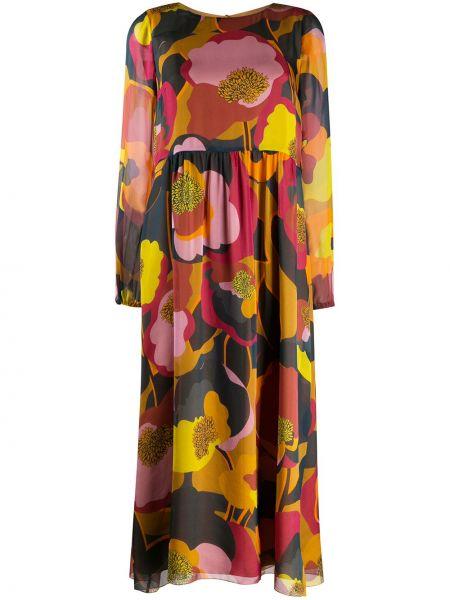Шелковое платье макси - синее Luisa Cerano