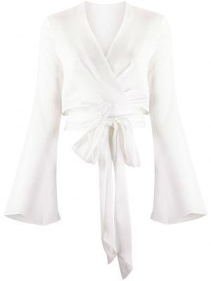 Biała bluzka kopertowa z dekoltem w serek Galvan