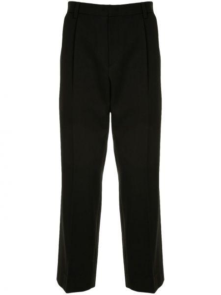 Шерстяные плиссированные черные укороченные брюки с высокой посадкой Wooyoungmi