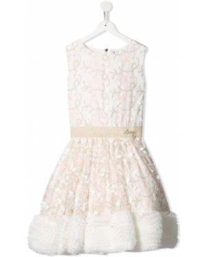 Расклешенное платье с рукавами с вырезом круглое с вышивкой Lesy
