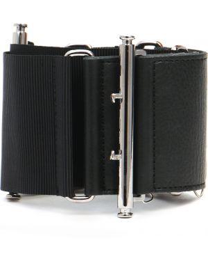 Кожаный черный широкий ремень свободного кроя с поясом Moncler