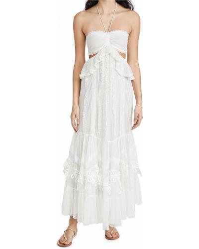 Кружевное белое платье макси с декольте Rococo Sand