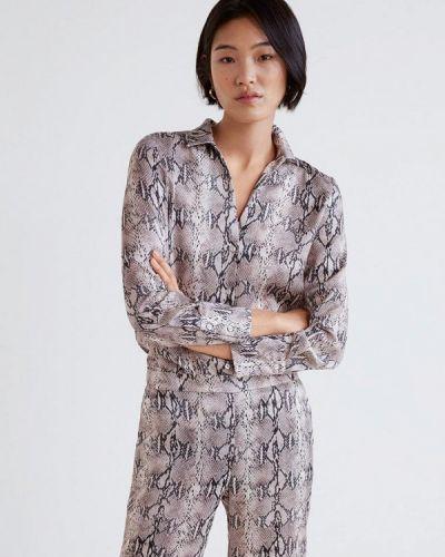Бежевая блузка с длинным рукавом Mango