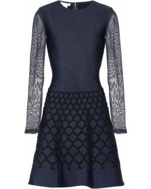 Платье мини в рубчик черное Oscar De La Renta