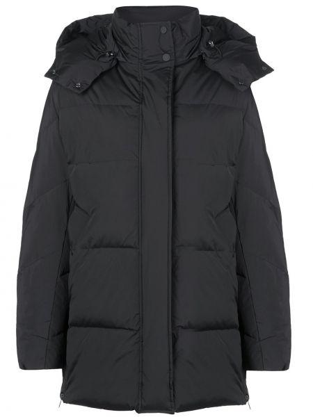 Черное прямое пальто с капюшоном на пуговицах с перьями Woolrich