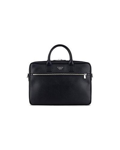Черный портфель из искусственной кожи Emporio Armani