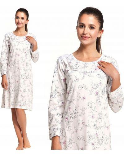 Różowa koszula nocna bawełniana z długimi rękawami Luna