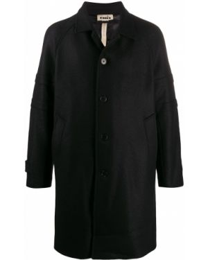 Черное длинное пальто на пуговицах с рукавом реглан Diadora