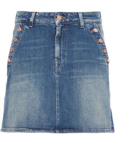 Хлопковая синяя юбка мини с карманами 7 For All Mankind