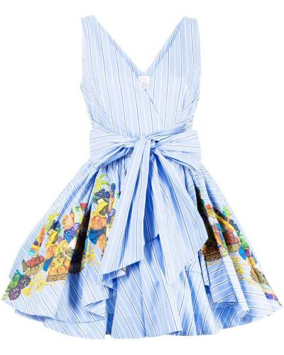 Синее платье на запах Stella Jean