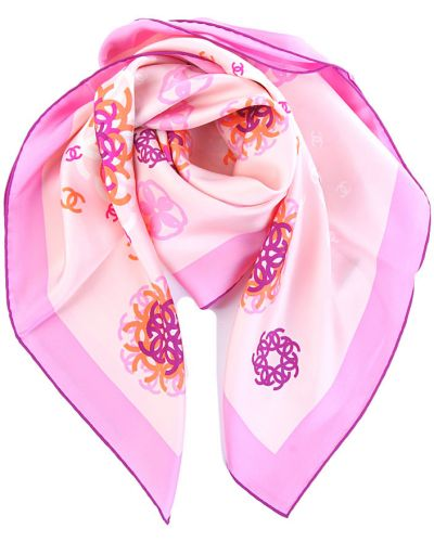 Платок из шелка розовый Chanel