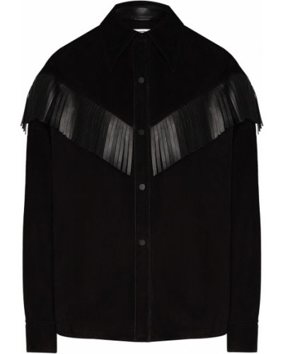 Кожаная с рукавами черная рубашка Izeta