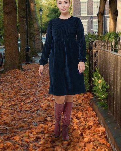 Свободное платье вельветовое свободного кроя с вырезом Mix-mode
