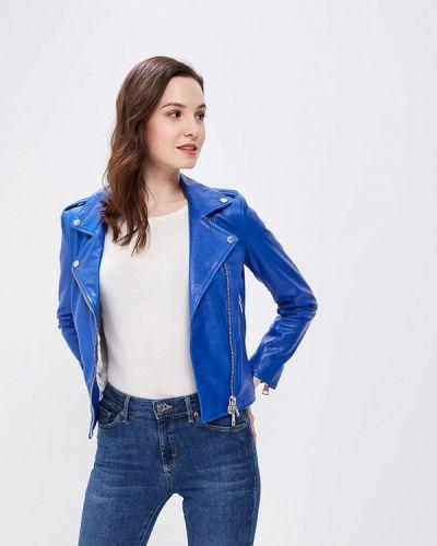 Кожаная куртка весенняя синий Imperial