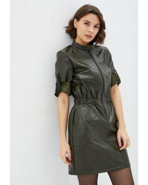 Кожаное платье хаки 7arrows