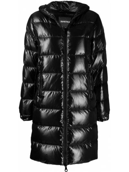Czarny płaszcz z kapturem z długimi rękawami Duvetica