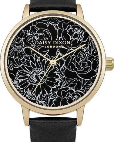 Водонепроницаемые часы черные на кожаном ремешке Daisy Dixon
