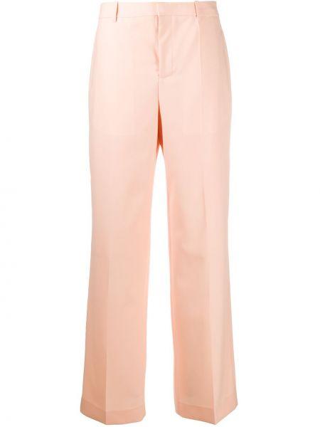 Pomarańczowy szerokie spodnie z wiskozy bezpłatne cięcie z paskiem Givenchy