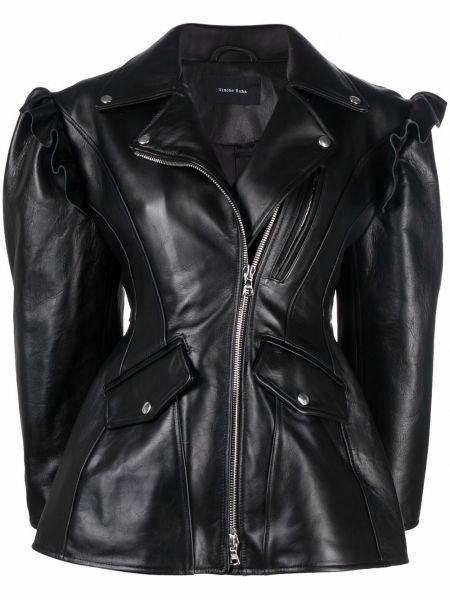 Черная приталенная кожаная куртка Simone Rocha