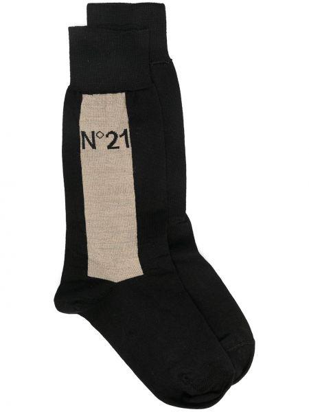 Черные хлопковые носки в рубчик N°21
