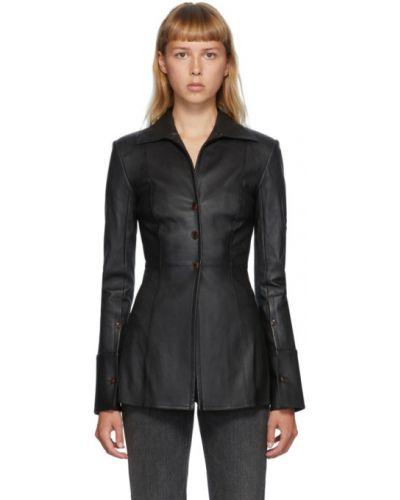 Черная приталенная рубашка с манжетами с воротником Alexander Wang