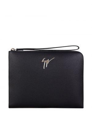Skórzany czarny torba z kieszeniami Giuseppe Zanotti