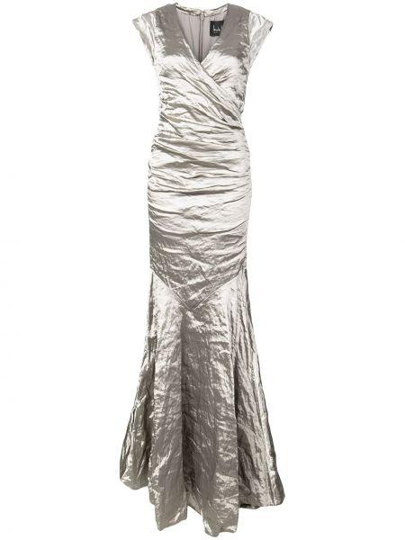 Sukienka długa bez rękawów z dekoltem w serek srebrna Nicole Miller