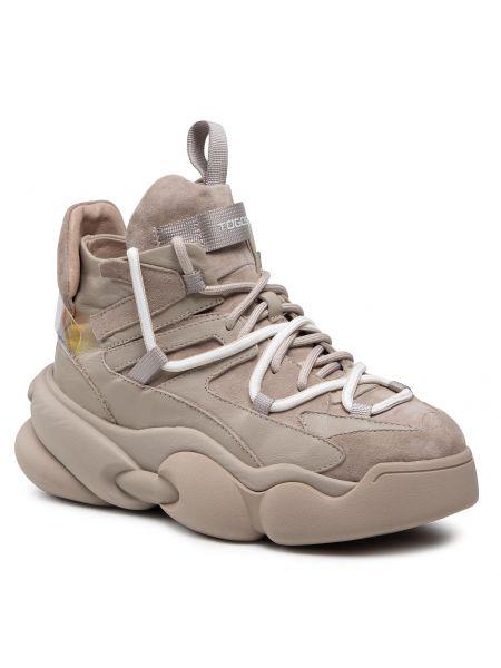 Buty sportowe skorzane - beżowe Togoshi