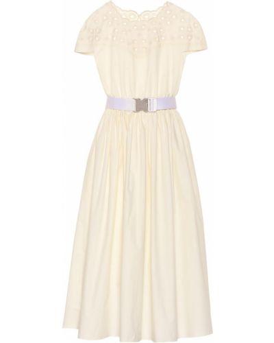 Платье миди с вышивкой с поясом на кнопках Fendi