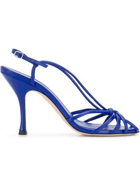 Niebieskie sandały skorzane klamry Victoria Beckham