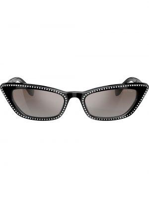 Прямые муслиновые черные солнцезащитные очки Miu Miu Eyewear