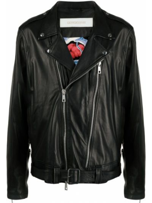 Czarna długa kurtka skórzana z długimi rękawami Giorgio Brato