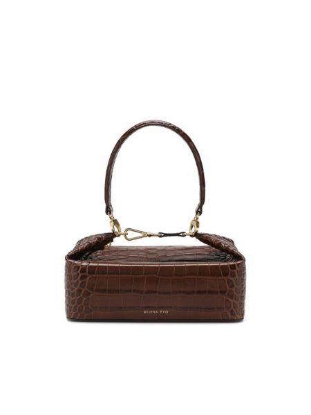 Коричневая кожаная сумка с тиснением из крокодила Rejina Pyo