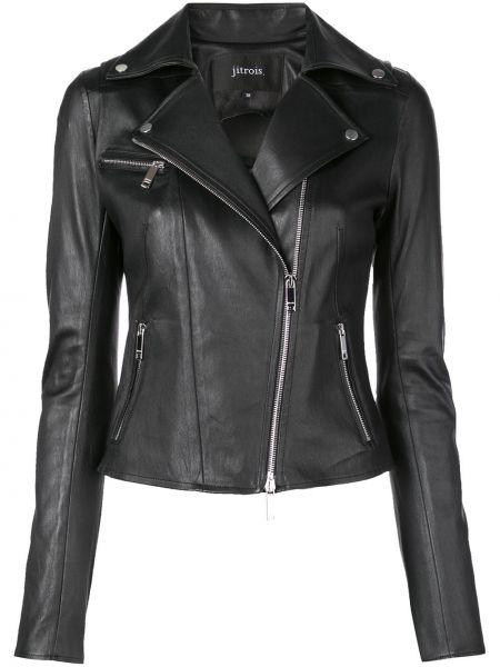 Черная кожаная короткая куртка байкерская Jitrois