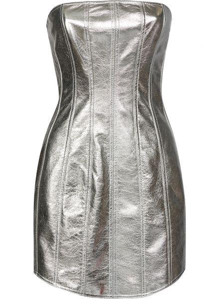 Кожаное платье - серебряное David Koma