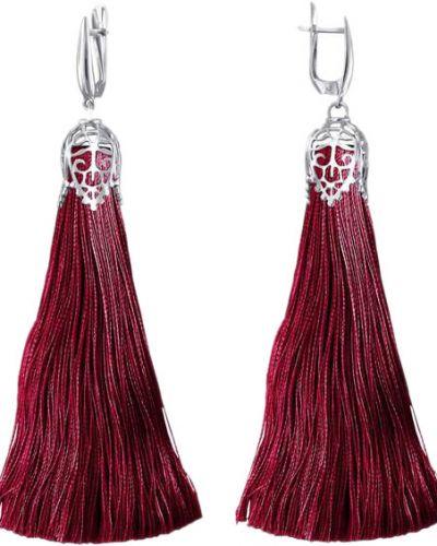 Серебряные серьги с кисточками бордовый эстет