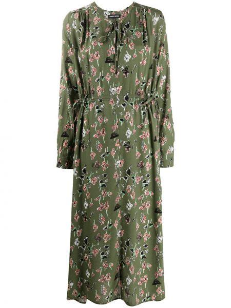 Платье макси с длинными рукавами хаки из вискозы Markus Lupfer