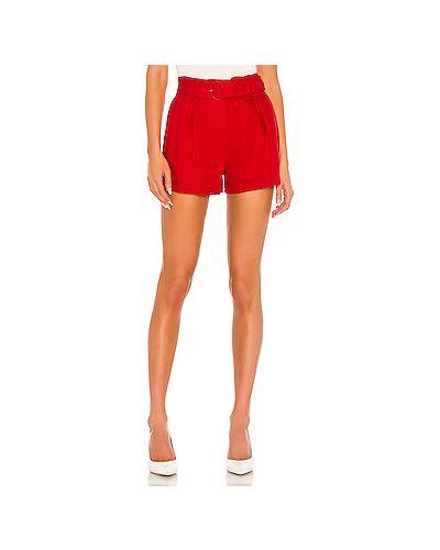 Хлопковые красные шорты с карманами на крючках Parker