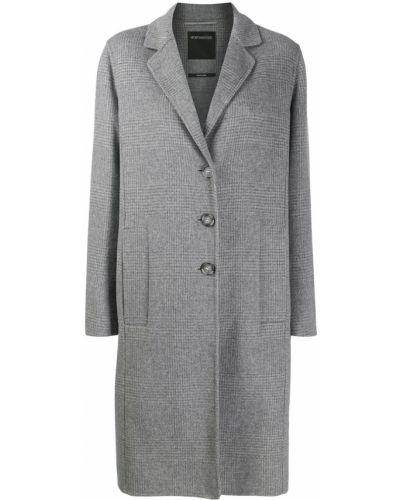 Серое шерстяное длинное пальто Sport Max Code