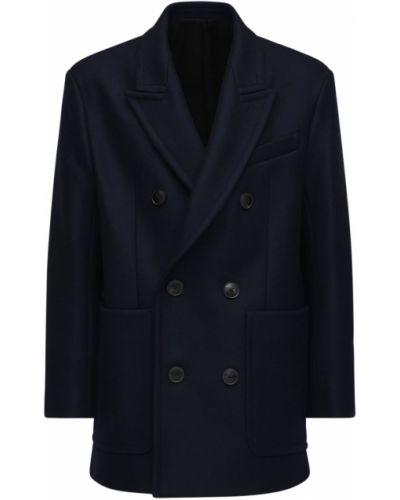 Wełniany płaszcz z mankietami prążkowany z łatami Ami Alexandre Mattiussi