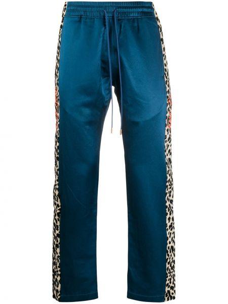 Niebieskie spodnie bawełniane z printem Just Don