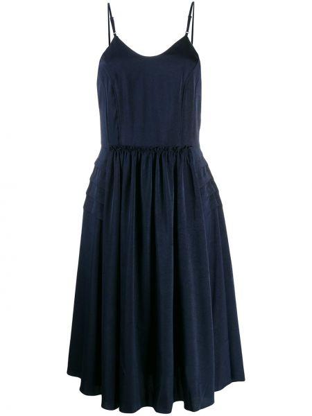 Темно-синее платье миди на бретелях Neul