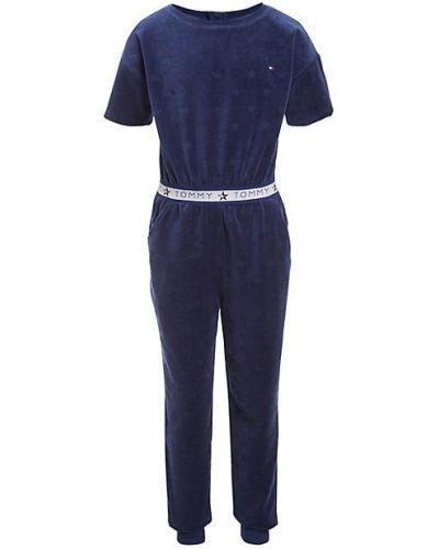 Niebieski kombinezon krótki bawełniany krótki rękaw Tommy Hilfiger