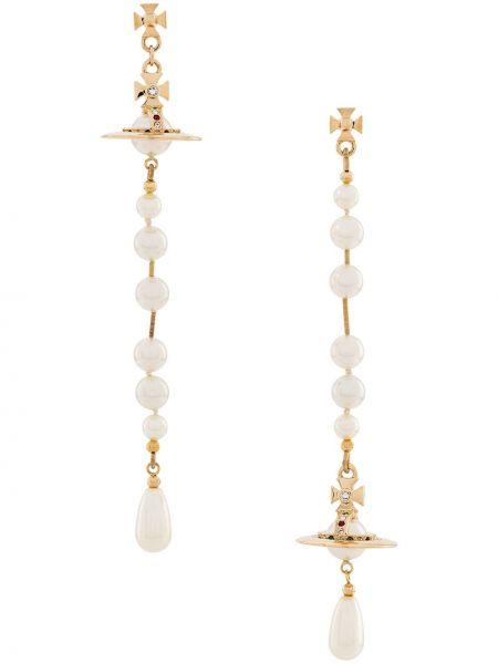 Серьги золотые с жемчугом с подвесками Vivienne Westwood