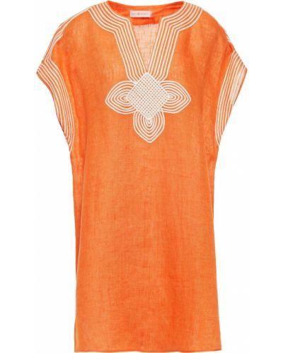 Pomarańczowy kaftan z haftem Tory Burch