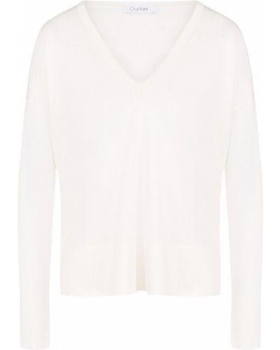 Белый свитер с V-образным вырезом Cruciani