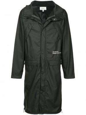 Czarny płaszcz przeciwdeszczowy z długimi rękawami z kapturem Makavelic